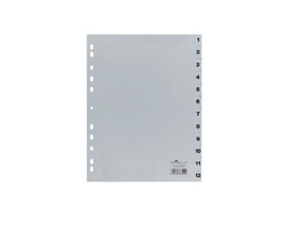 Register Durable Kunststoff A4 grau 1-12, 6512