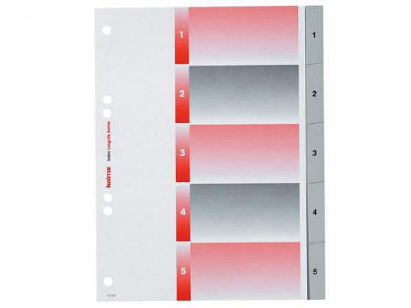 Register Kolma Kunststoff grau Longlife A5 1-5 schwarz besch