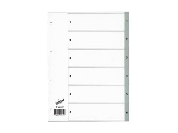 Register Büroline Kunststoff grau 1-6 A4