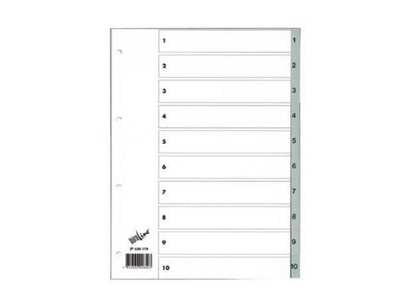 Register Büroline Kunststoff grau 1-10 A4