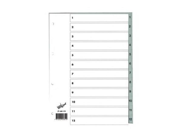 Register Büroline Kunststoff grau 1-12 A4