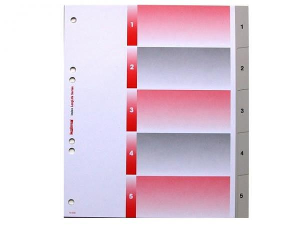 Register Kolma XL Kunststoff grau Longlife A5 überbreit 1-5