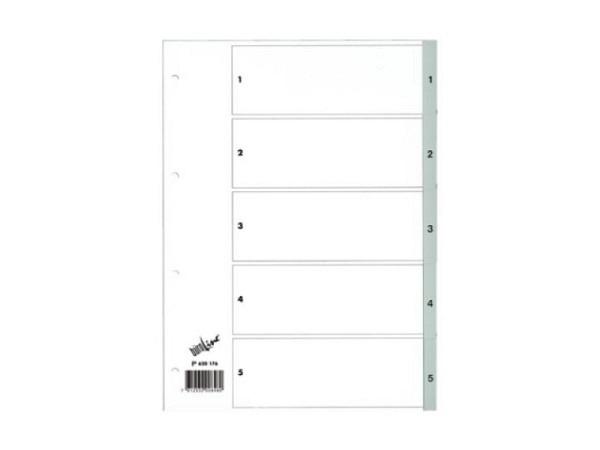 Register Büroline Kunststoff grau 1-5 A4