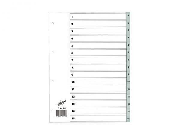 Register Büroline Kunststoff grau 1-15 A4