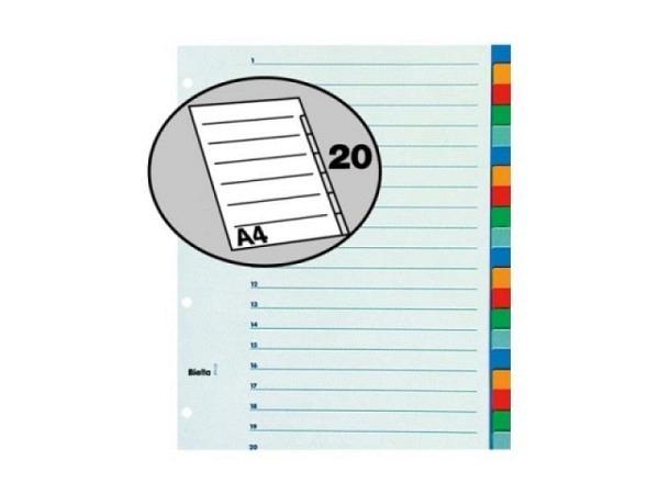Register Biella XL Kunststoff farbig A4 übergross 20tlg,