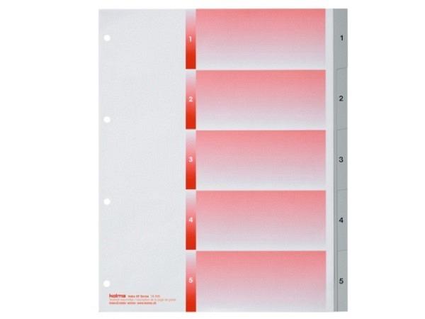 Register Kolma XL Kunststoff grau Kolmaflex A4 1-5