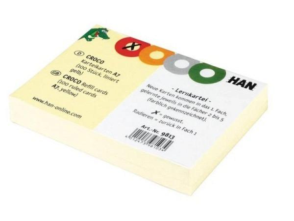 Karteikarten Han A7 Croco liniert gelb