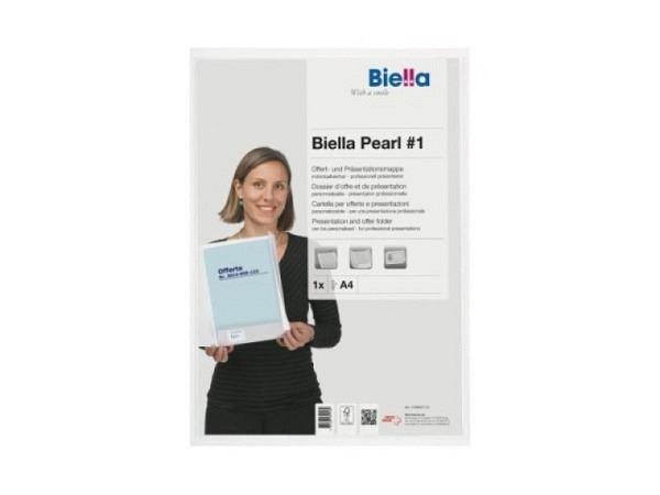Bewerbungsmappe Biella Pearl A4 weiss 2Kl. Sichttasche