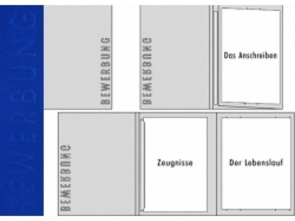 Bewerbungsmappe Transehe königsblau mit 1 Klemmleiste und 3