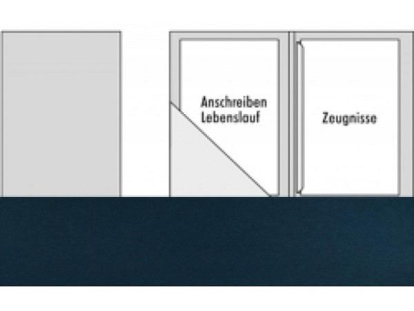 Bewerbungsmappe Transehe nachtblau mit 1 Klemmleiste 2 Klapp