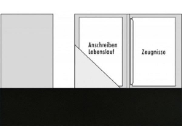 Bewerbungsmappe Transehe schwarz mit 1 Klemmleiste 2 Klappen