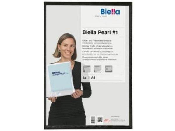 Bewerbungsmappe Biella Pearl A4 schwarz 2Kl. Sichttasche