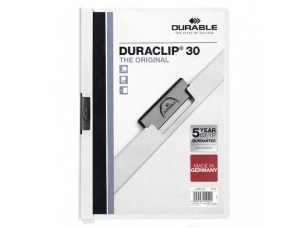 Klemmhefter Durable Duraclip 3mm weiss, für 1-30 Blatt
