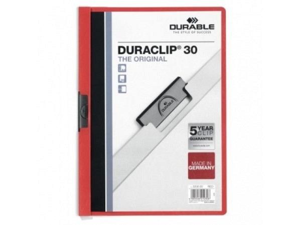 Klemmhefter Durable Duraclip 3mm rot, für 1-30 Blatt