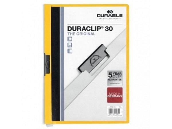 Klemmhefter Durable Duraclip 3mm gelb, für 1-30 Blatt