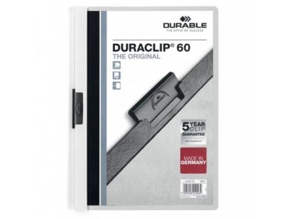 Klemmhefter Durable Duraclip 6mm dick weiss, für 1-60 Blatt