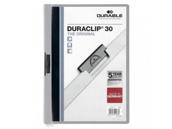 Klemmhefter Durable Duraclip 3mm grau, für 1-30 Blatt