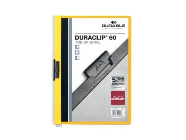 Klemmhefter Durable Duraclip 6mm dick gelb, für 1-60 Blatt