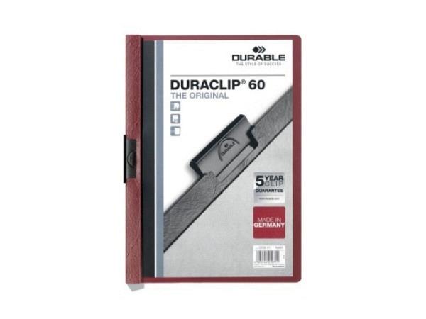 Klemmhefter Durable Duraclip 6mm dick aubergine-bordeaux