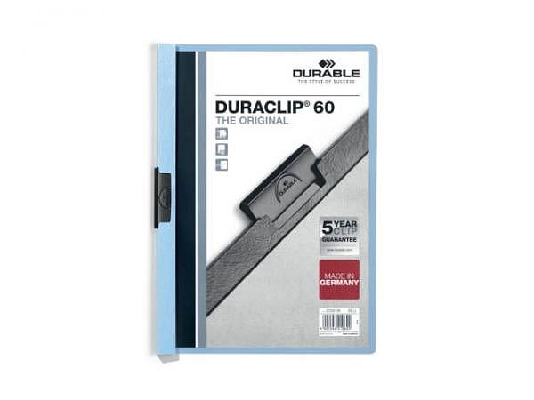 Klemmhefter Durable Duraclip 6mm dick hellblau, 1-60 Blatt