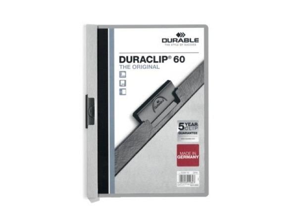 Klemmhefter Durable Duraclip 6mm dick grau, für 1-60 Blatt