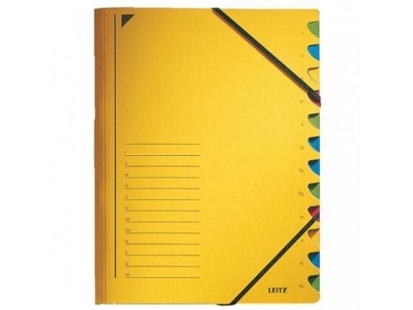 Ordnungsmappe Leitz 12tlg. Karton m. Elastik gelb