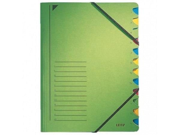 Ordnungsmappe Leitz 12tlg. Karton m. Elastik grün