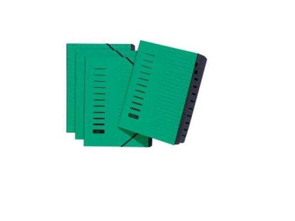 Ordnungsmappe Pagna Karton m. Gummizug 1-12 grün