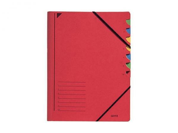 Ordnungsmappe Leitz 7tlg. Karton rot mit Gummizug