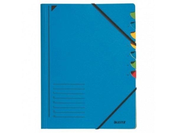 Ordnungsmappe Leitz 7tlg. Karton blau mit Gummizug