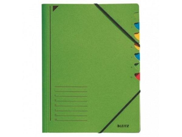 Ordnungsmappe Leitz 7tlg. Karton grün mit Gummizug