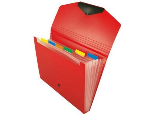 Fächermappe Büroline 6 Fächer, rot, A4 quer 33x23,5cm