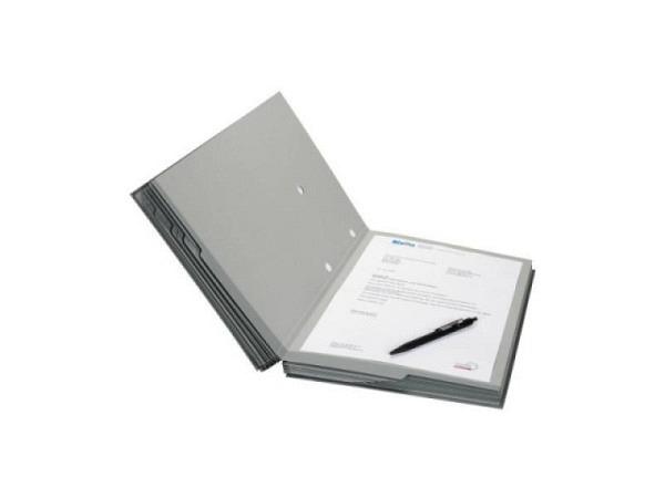 Unterschriftenmappe Biella, für Format A4 ,Vorderdeckel mit Namensschild, Inhalt aus grauem Karton m