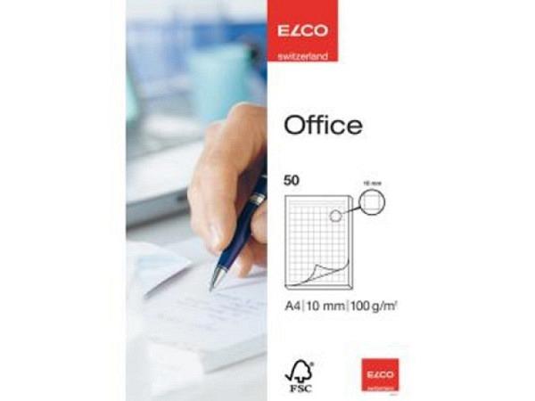 Block Elco Office A4 100g/qm, 10mm grau kariert, 50 Blatt