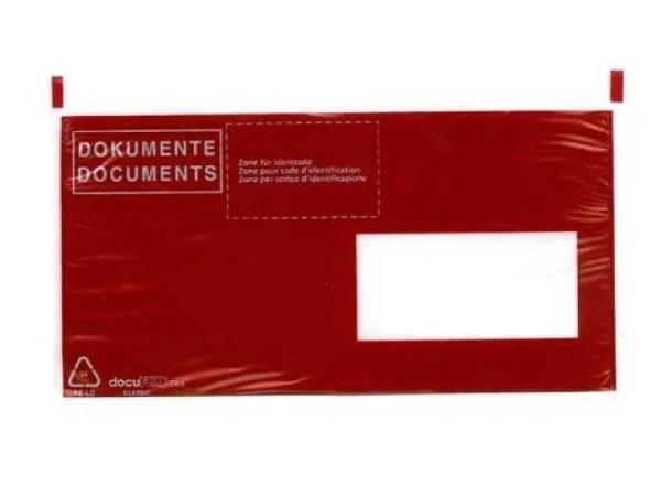 Begleitpapiertasche Dokufix C6/5 mit Druck schwarz auf rot