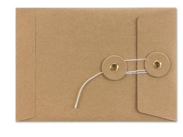 Couverts Kraftpapier braun C6 mit Bindfadenverschluss