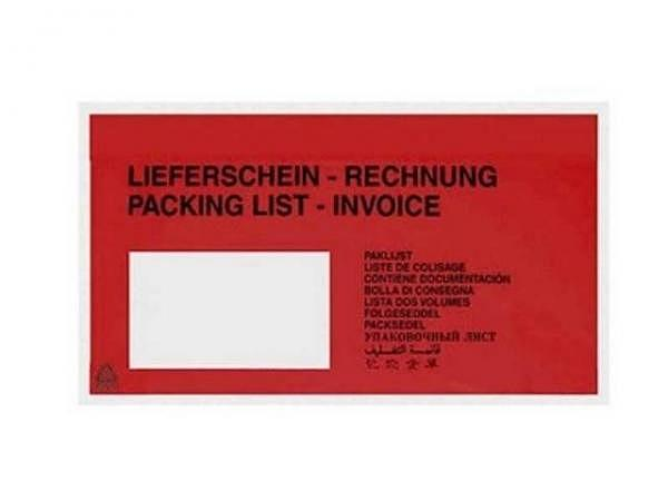 Begleitpapiertasche Nips C6/5 mit Druck schwarz auf rot