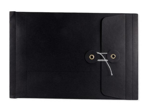 Couverts Kraftpapier schwarz C5 mit Bindfadenverschluss