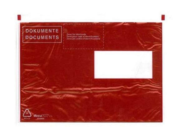 Begleitpapiertasche Dokufix C5 rot mit Druck