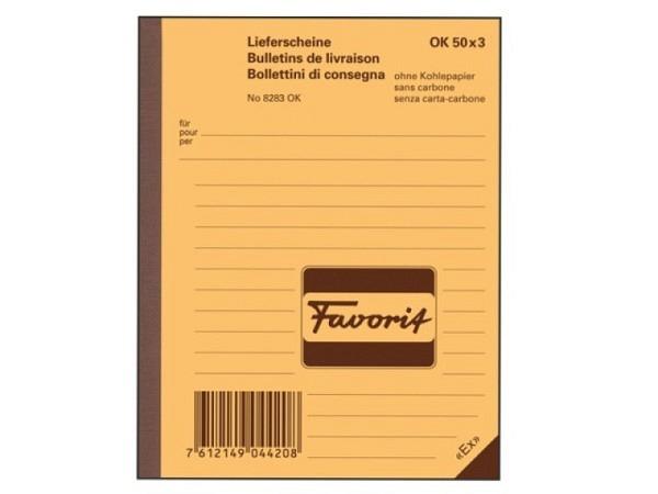 Lieferschein Favorit A6 9283 OK 50x3 Blatt r/g/wei