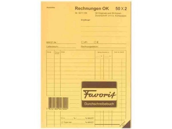 Rechnung Favorit A5 9211 OK 50x2 Blatt blau/weiss