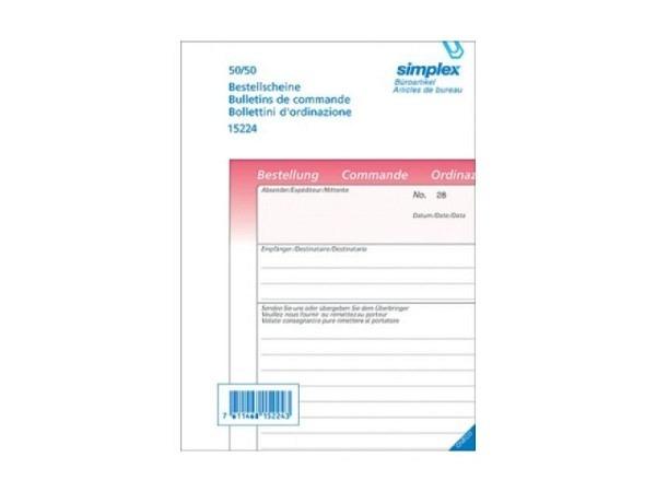 Bestellschein Simplex A5 100x2 Druck rosa