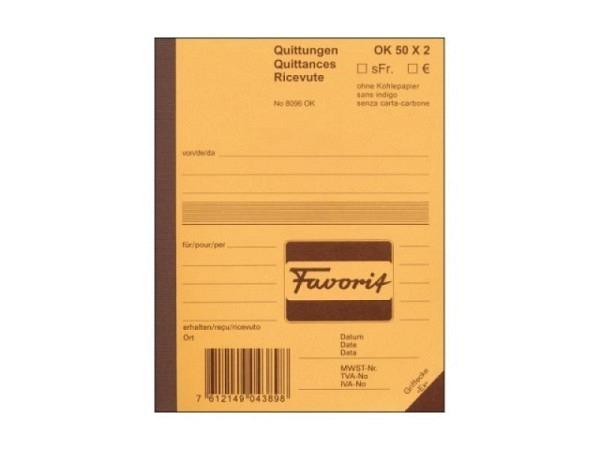 Quittung Favorit A6 8096 OK 50x2 Blatt dreisprachig