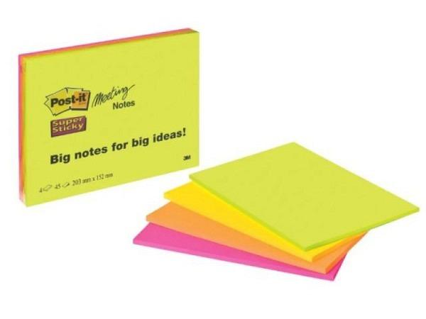 Haftnotizen Post-it Meeting Notes 203x153mm extragross