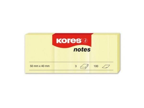 Haftnotizen Kores 40x50mm 3 Blöcke zu 100 Blatt gelb