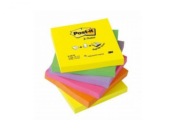 Haftnotizen Post-it Z-Notes, 76x76, neon Rainbow, 6 Stück