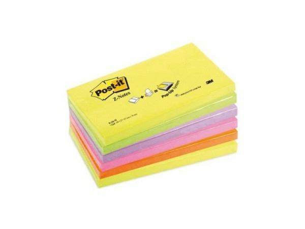 Haftnotizen Post-it Z-Notes, 76x127mm, neon Rainbow, 6 Stück