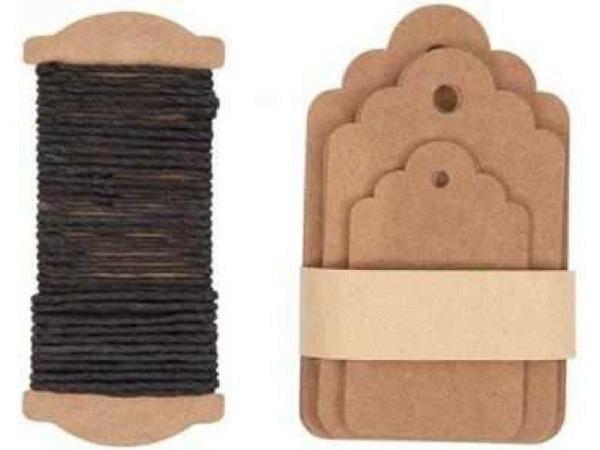 Anhängeetiketten PaperPoetry Ornament Kraftpapier, 30Stk. In den Grössen 4,5x7,5cm, 4x6,5cm, 3x5cm.