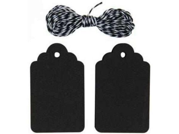 Anhängeetiketten PaperPoetry Ornament schwarz 4,5x7,5cm, 20Stk. Mit 4m schwarz-weissem Garn