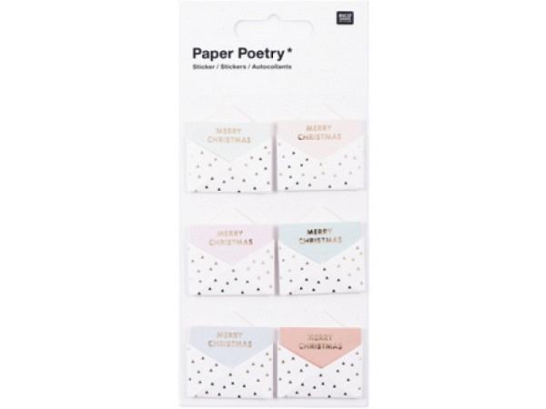 Aufkleber PaperPoetry 3D Umschläge mit pastellfarbener Karte mit Text Merry Christmas, Goldfolienprä